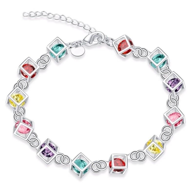 Multi-colored cubes bracelet - 925 sterling silver