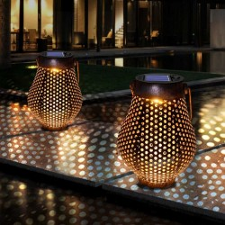 Iron lanterns with handle - solar - waterproof garden light