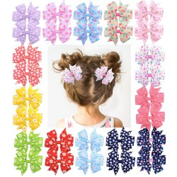 1Piece - Ribbon Hair Bows With Clip - Baby Girls - Flower