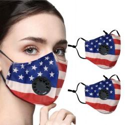 2 - 4 stuks - PM2.5 - beschermend gezichts- / mondmasker met luchtklep & filter - herbruikbaar - Amerikaanse vlag