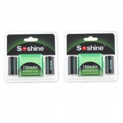 4pcs - 700mAh - Li-ion Rechargeable Battery - 2pcs Battery Storage Box - Flashlights - Headlamps
