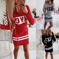 Printed NYC letters - long sleeve mini dress - hoodie