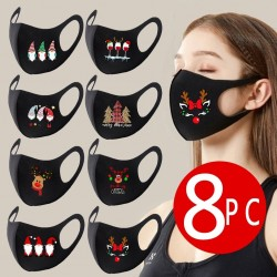 8 pieces - protective face / mouth masks - washable - Christmas print