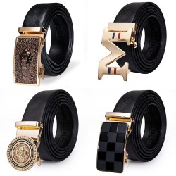 Luxury genuine leather belt with automatic buckle