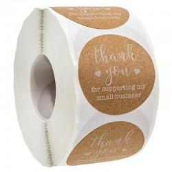 """""""Thank You for supporting my small business"""" - ronde stickers van natuurlijk kraftpapier - 100 - 500 stuks"""
