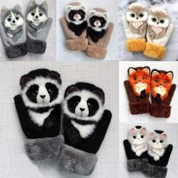 Kinder winterwanten met tekenfilm dieren - zachte handschoenen