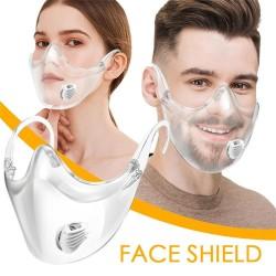 Schützende transparente Mund- / Gesichtsmaske - Kunststoffabschirmung mit Luftventil - wiederverwendbar