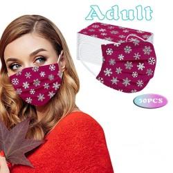 50 stuks - wegwerp antibacterieel gezicht / mondmasker - 3-laags - unisex - kerstmotieven