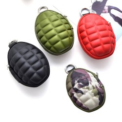 Car keys organizer - pouch bag with zipper & keyring - grenade shape