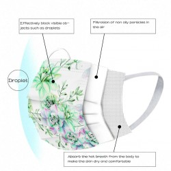 50 stuks - wegwerp antibacteriële gezichts- / mondmaskers - 3-laags - bloemenprint