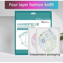 KN95 - antibacteriële gezichts- / mondmaskers - 4-laags - luchtventiel - herbruikbaar - 10-20-50-100 stuks