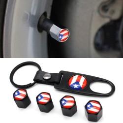 4Pcs - puerto rico flag - valve caps - 1Pcs leather wrench