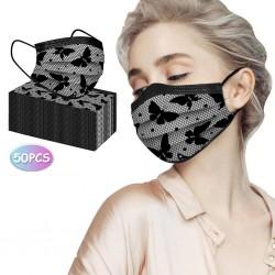 50 stuks - wegwerp antibacteriële gezichts- / mondmaskers - 3-laags - kanten design