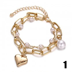 Elegant bracelet with charms & pearls