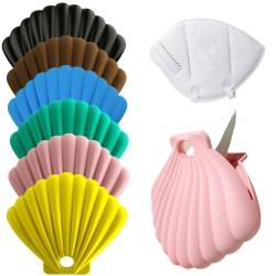 Muschelförmiger Aufbewahrungskoffer für Gesichts- / Mundmasken - Silikontasche