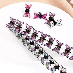 Small crystal butterflies - hair clips - 12 pieces