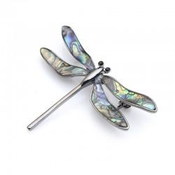 Vintage enamel dragonfly - elegant brooch