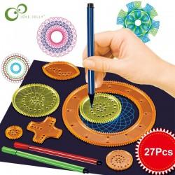 Spirograaf-tekening - in elkaar grijpende tandwielen - verf- / tekenaccessoires - educatief speelgoed - 22 stuks