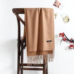 Grote cashmere sjaal met kwastjes