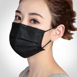 Beschermend gelaats- / mondmasker - wegwerp - 3-laags - zwart - 5 - 500 stuks