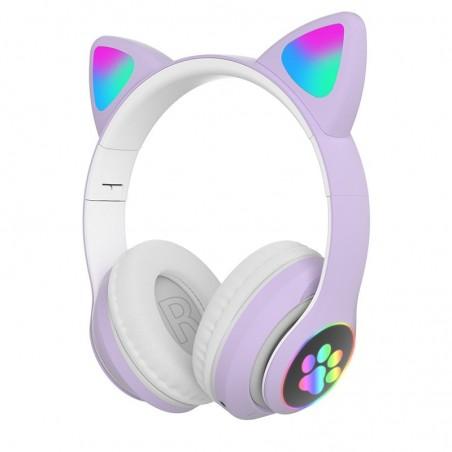Draadloze hoofdtelefoon - LED - Bluetooth - ruisonderdrukking - ondersteuning voor TF-kaart - 3,5 mm-aansluiting - kattenoren