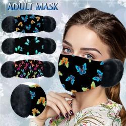 2 in 1 - gezichts / mondmasker met oorkappen - vlinders print