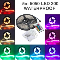 5m RGB 5050 Led Strip Waterproof 300 Leds Incl. Controller