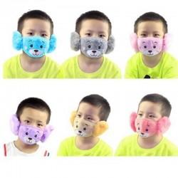 2 in 1 - oorkappen / gezichtsmasker voor kinderen - pluche beer