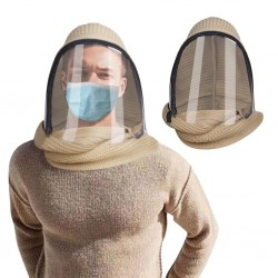 Full face transparent mask with scarf & zipper