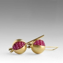 Gold / silver pomegranate - elegant earrings