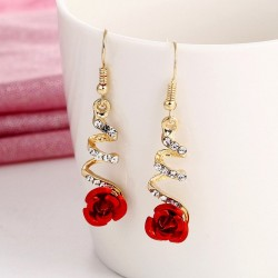 Red rose & crystals spiral earrings - ethnic style