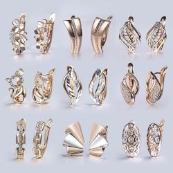 Cut out flowers - cubic zircon - crystal earrings