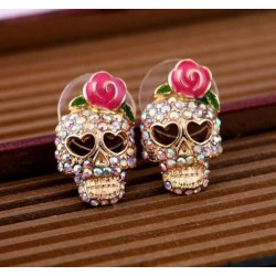 Crystal skull with rose - small earrings