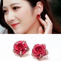 Crystals & red rose - small earrings