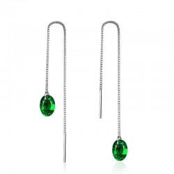 Long silver earrings with green zirconia
