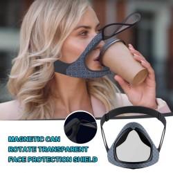 Transparente Gesichts- / Mundabdeckung - Schutzmaske mit zu öffnendem Mundvisier