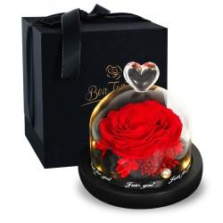 Bewaarde eeuwige roos - glazen doos met licht - Valentijnsdag / huwelijksgeschenk