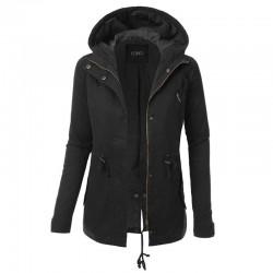 Warme jas met capuchon - lang - met ritssluiting