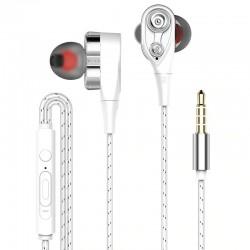 Oordopjes met snoer - oordopjes - hoge bas - dual drive - met microfoon - 3,5 mm