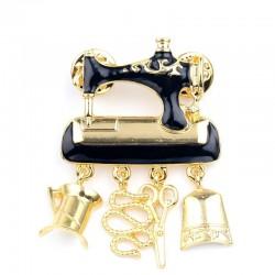 Black sewing machine - pin - brooch