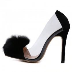Transparent black high heel pumps with fur