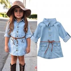 Overhemd met lange mouwen en knopen - mini-denimjurk voor meisjes