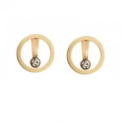 Elegant round earrings with crystal