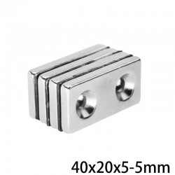 N35 neodymium magnet - double hole - 40*20*5mm