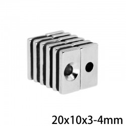 N35 block powerful magnet - 4mm hole - 20*10*3mm