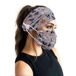Mond / gezicht beschermend masker - met hoofdband - herbruikbaar - katoen
