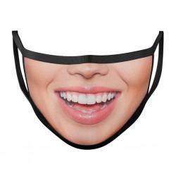 Beschermend mond- / gezichtsmasker - herbruikbaar - katoen - mondafdruk