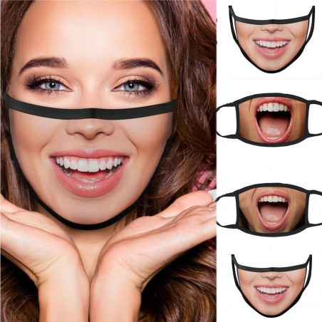 Protective mouth / face mask - reusable - cotton - mouth print