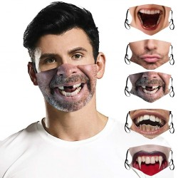 Mouth / face protective mask - reusable - cotton - 3D funny printing