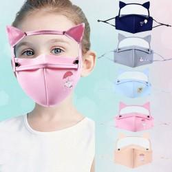 Mund- / Gesichtsschutzmaske - abnehmbarer Augenschutz mit Katzenohren - wiederverwendbar - für Kinder